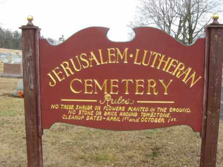 CEMETERY SIGN, JERUSALEM-LUTHERAN - Carbon County, Pennsylvania | JERUSALEM-LUTHERAN CEMETERY SIGN - Pennsylvania Gravestone Photos