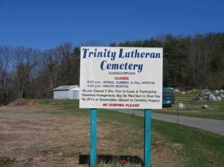 CEMETERY SIGN, TRINITY LUTHERAN - Carbon County, Pennsylvania | TRINITY LUTHERAN CEMETERY SIGN - Pennsylvania Gravestone Photos