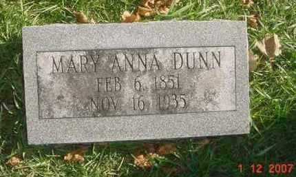 DUNN, MARY ANNA - Juniata County, Pennsylvania | MARY ANNA DUNN - Pennsylvania Gravestone Photos