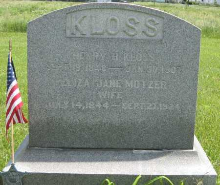 KLOSS, HENRY H. - Juniata County, Pennsylvania | HENRY H. KLOSS - Pennsylvania Gravestone Photos