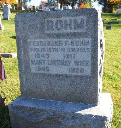 ROHM, FERDANAND F. - Juniata County, Pennsylvania | FERDANAND F. ROHM - Pennsylvania Gravestone Photos