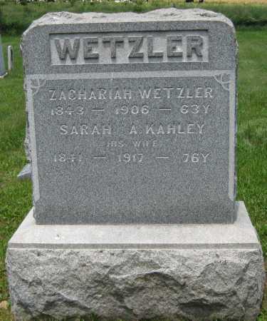 KAHLEY WETZLER, SARAH A. - Juniata County, Pennsylvania | SARAH A. KAHLEY WETZLER - Pennsylvania Gravestone Photos