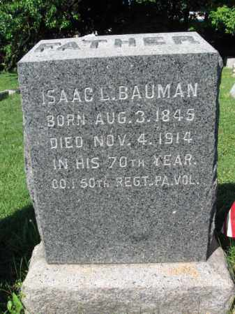 BAUMAN (CW), ISAAC L. - Lancaster County, Pennsylvania   ISAAC L. BAUMAN (CW) - Pennsylvania Gravestone Photos