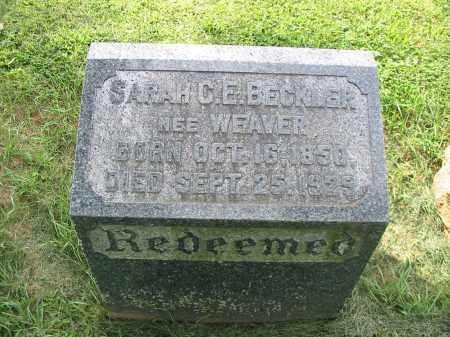 BECKLER, SARAH C E - Lancaster County, Pennsylvania | SARAH C E BECKLER - Pennsylvania Gravestone Photos