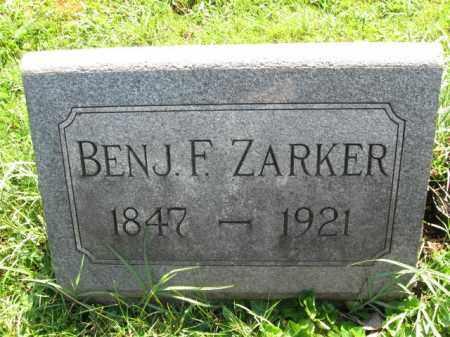 ZARKER, BENJAMIN F. - Lancaster County, Pennsylvania | BENJAMIN F. ZARKER - Pennsylvania Gravestone Photos