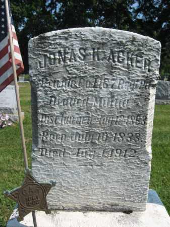 ACKER (CW), JONAS K. - Lebanon County, Pennsylvania | JONAS K. ACKER (CW) - Pennsylvania Gravestone Photos