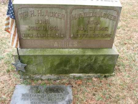 ACKER  (CW), PVT. WILLIAM H.H. - Lehigh County, Pennsylvania | PVT. WILLIAM H.H. ACKER  (CW) - Pennsylvania Gravestone Photos