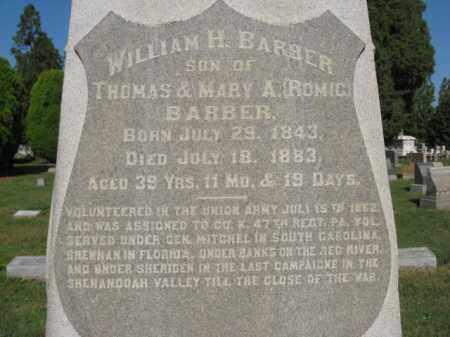 BARBER, WILLIAM H. - Lehigh County, Pennsylvania | WILLIAM H. BARBER - Pennsylvania Gravestone Photos
