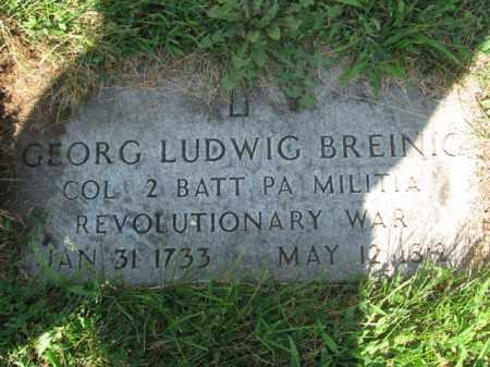 BREINIG, COL.GEORG LUDWIG - Lehigh County, Pennsylvania | COL.GEORG LUDWIG BREINIG - Pennsylvania Gravestone Photos