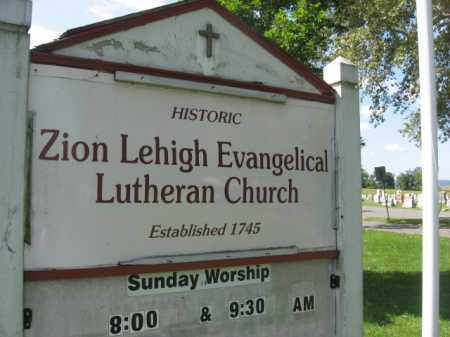 CEMETERY CHURCH SIGN, ZION LEHIGH EVANGELICAL - Lehigh County, Pennsylvania | ZION LEHIGH EVANGELICAL CEMETERY CHURCH SIGN - Pennsylvania Gravestone Photos