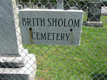 CEMETERY SIGN, BRITH SHOLOM - Lehigh County, Pennsylvania | BRITH SHOLOM CEMETERY SIGN - Pennsylvania Gravestone Photos