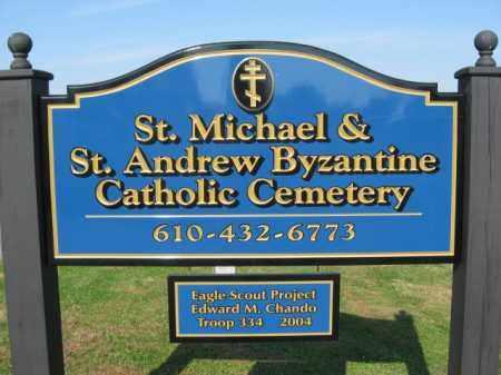 CEMETERY SIGN, ST.MICHAEL & ST.ANDREW BYZANTINE CATHOLIC CEMETERY - Lehigh County, Pennsylvania   ST.MICHAEL & ST.ANDREW BYZANTINE CATHOLIC CEMETERY CEMETERY SIGN - Pennsylvania Gravestone Photos