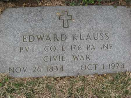 KLAUSS  (CW), PVT.EDWARD - Lehigh County, Pennsylvania | PVT.EDWARD KLAUSS  (CW) - Pennsylvania Gravestone Photos