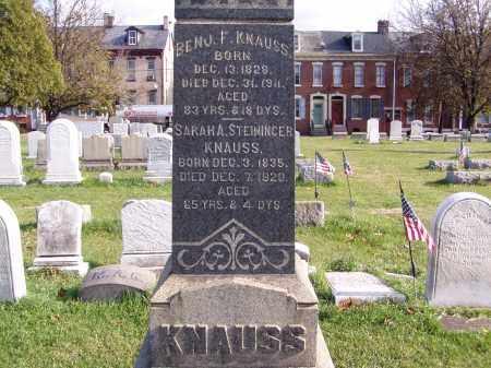 STEININGER KNAUSS, SARAH ANN - Lehigh County, Pennsylvania | SARAH ANN STEININGER KNAUSS - Pennsylvania Gravestone Photos