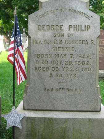 MENNIG, GEORGE PHILIP - Lehigh County, Pennsylvania | GEORGE PHILIP MENNIG - Pennsylvania Gravestone Photos