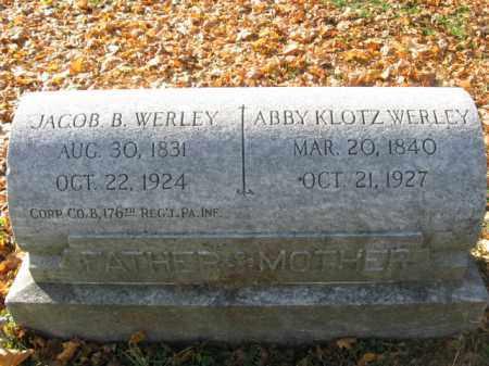 WERLEY, CORP. JACOB B. - Lehigh County, Pennsylvania   CORP. JACOB B. WERLEY - Pennsylvania Gravestone Photos