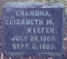 KEEFER, ELIZABETH - Lycoming County, Pennsylvania | ELIZABETH KEEFER - Pennsylvania Gravestone Photos