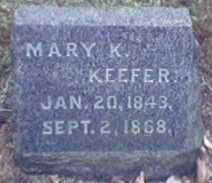 KEEFER, MARY - Lycoming County, Pennsylvania | MARY KEEFER - Pennsylvania Gravestone Photos