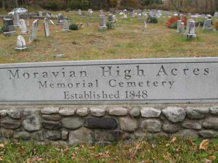 CEMETERY SIGN, MORAVIAN HIGH ACRES - Monroe County, Pennsylvania   MORAVIAN HIGH ACRES CEMETERY SIGN - Pennsylvania Gravestone Photos