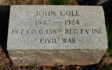 COLE (CW), JOHN - Montgomery County, Pennsylvania | JOHN COLE (CW) - Pennsylvania Gravestone Photos