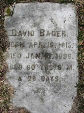 BADER, DAVID - Northampton County, Pennsylvania   DAVID BADER - Pennsylvania Gravestone Photos