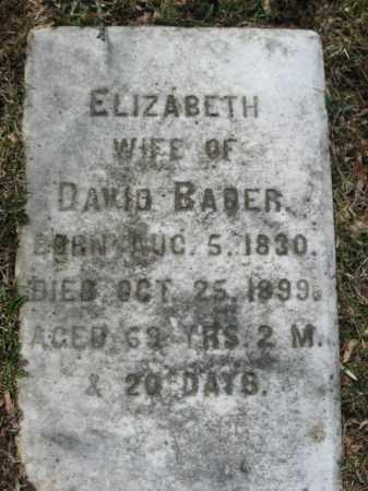 BADER, ELIZABETH - Northampton County, Pennsylvania | ELIZABETH BADER - Pennsylvania Gravestone Photos