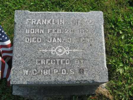 DIETZ, FRANKLIN - Northampton County, Pennsylvania   FRANKLIN DIETZ - Pennsylvania Gravestone Photos