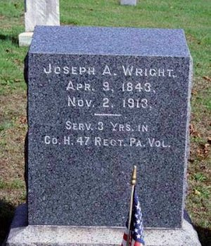 WRIGHT, JOSEPH ATYROUS - Perry County, Pennsylvania | JOSEPH ATYROUS WRIGHT - Pennsylvania Gravestone Photos