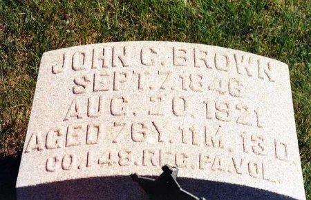 BROWN (CW), JOHN G. - Schuylkill County, Pennsylvania | JOHN G. BROWN (CW) - Pennsylvania Gravestone Photos