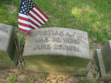 FOX (CW), CORP.CHRISTIAN A. - Schuylkill County, Pennsylvania | CORP.CHRISTIAN A. FOX (CW) - Pennsylvania Gravestone Photos