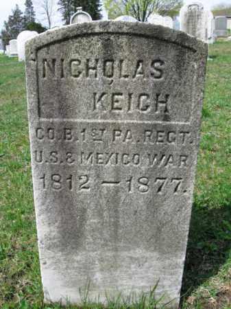 KEICH  (MEX.WAR), NICHOLAS - Schuylkill County, Pennsylvania | NICHOLAS KEICH  (MEX.WAR) - Pennsylvania Gravestone Photos