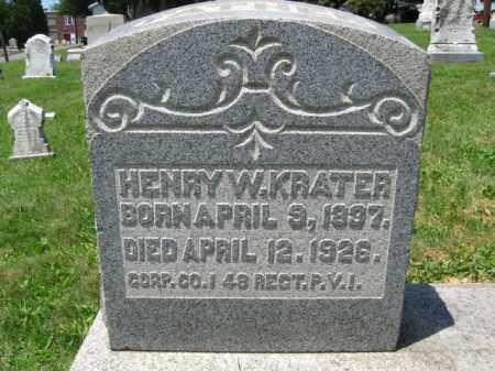 KRATER (CW), CORP.HANRY W. - Schuylkill County, Pennsylvania | CORP.HANRY W. KRATER (CW) - Pennsylvania Gravestone Photos