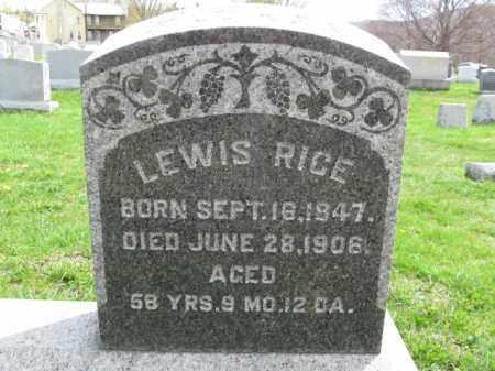 RICE, LEWIS - Schuylkill County, Pennsylvania   LEWIS RICE - Pennsylvania Gravestone Photos