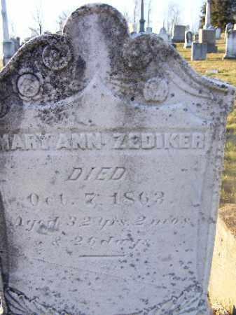 ZEDIKER, MARY ANN - Washington County, Pennsylvania | MARY ANN ZEDIKER - Pennsylvania Gravestone Photos