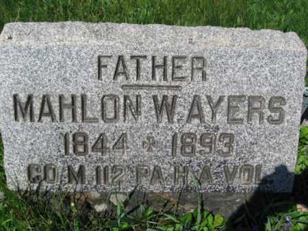 AYERS (CW), MAHLON W. - Wyoming County, Pennsylvania | MAHLON W. AYERS (CW) - Pennsylvania Gravestone Photos