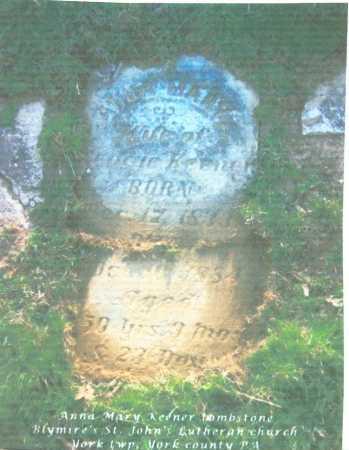 KEENER, ANNA MARY - York County, Pennsylvania | ANNA MARY KEENER - Pennsylvania Gravestone Photos
