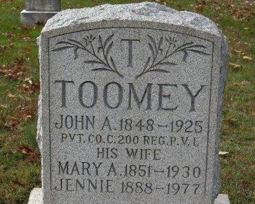 TOOMEY (CW), JOHN A. - York County, Pennsylvania | JOHN A. TOOMEY (CW) - Pennsylvania Gravestone Photos