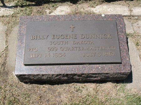 DUNNICK, BILLY EUGENE - Beadle County, South Dakota | BILLY EUGENE DUNNICK - South Dakota Gravestone Photos