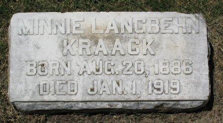 LANGBEHN KRAACK, MINNIE - Beadle County, South Dakota   MINNIE LANGBEHN KRAACK - South Dakota Gravestone Photos