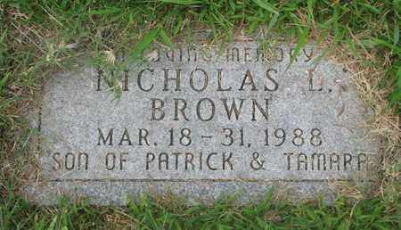 BROWN, NICHOLAS L. - Bon Homme County, South Dakota | NICHOLAS L. BROWN - South Dakota Gravestone Photos