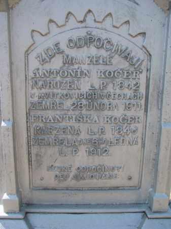 KOCER, FRANTISKA (CLOSEUP) - Bon Homme County, South Dakota   FRANTISKA (CLOSEUP) KOCER - South Dakota Gravestone Photos