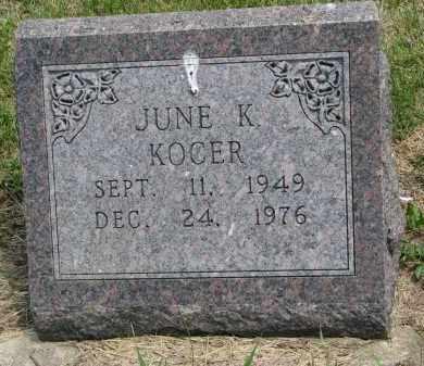 KOCER, JUNE K. - Bon Homme County, South Dakota   JUNE K. KOCER - South Dakota Gravestone Photos