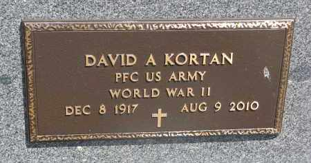 KORTAN, DAVID A. (WW II) - Bon Homme County, South Dakota | DAVID A. (WW II) KORTAN - South Dakota Gravestone Photos