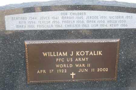 KOTALIK, WILLIAM J. (WW II) - Bon Homme County, South Dakota   WILLIAM J. (WW II) KOTALIK - South Dakota Gravestone Photos