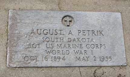 PETRIK, AUGUST A. (WW I) - Bon Homme County, South Dakota | AUGUST A. (WW I) PETRIK - South Dakota Gravestone Photos