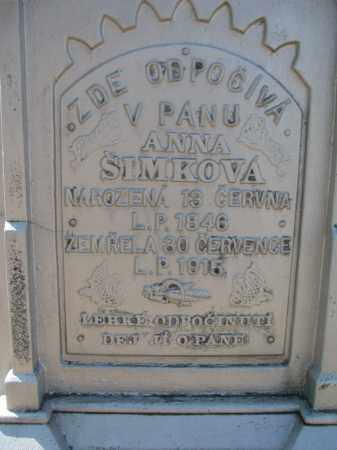 SIMKOVA, ANNA (CLOSEUP) - Bon Homme County, South Dakota | ANNA (CLOSEUP) SIMKOVA - South Dakota Gravestone Photos