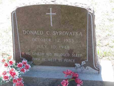 SYROVATKA, DONALD C. - Bon Homme County, South Dakota   DONALD C. SYROVATKA - South Dakota Gravestone Photos