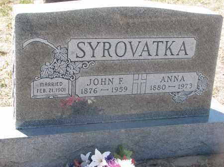 SYROVATKA, JOHN F. - Bon Homme County, South Dakota   JOHN F. SYROVATKA - South Dakota Gravestone Photos