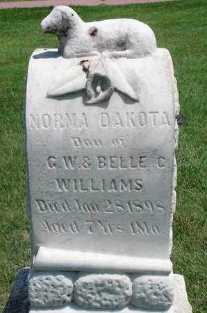 WILLIAMS, NORMA DAKOTA - Bon Homme County, South Dakota | NORMA DAKOTA WILLIAMS - South Dakota Gravestone Photos