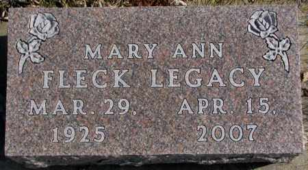FLECK LEGACY, MARY ANN - Brookings County, South Dakota | MARY ANN FLECK LEGACY - South Dakota Gravestone Photos
